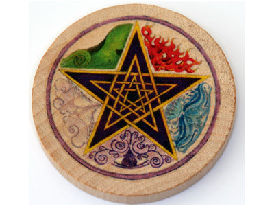 Altar Wooden Tile - Pentagram Elements